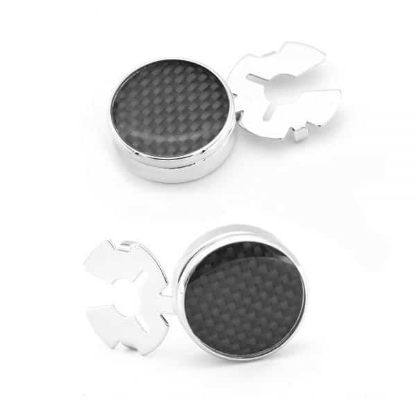 Men's Round Carbon Fiber Cufflink