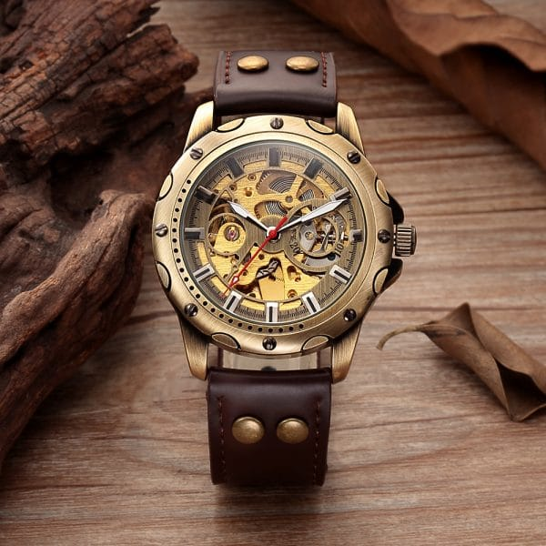 Mens Skeleton Steampunk Automatic watch