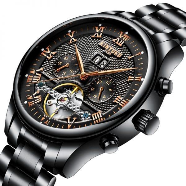 Black Tourbillon mechanical watch