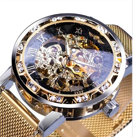 diamond men's semi-automatic mechanical watch