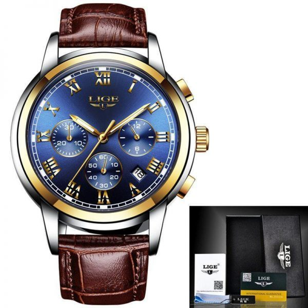 LIGE Mens Leather Casual Watch
