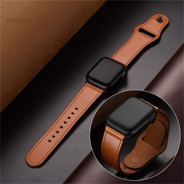 Watch with leather