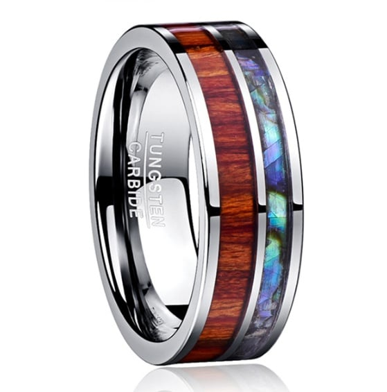 ring with polished wood grain