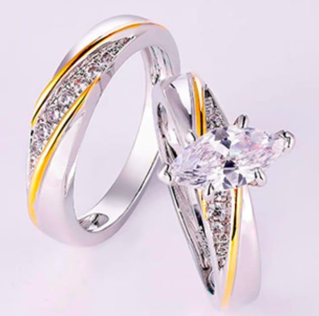 Cut White CZ Bridal ring