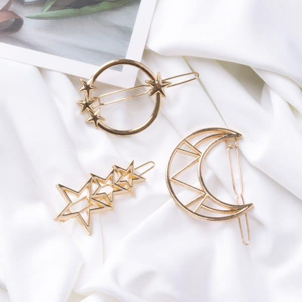five-pointed star moon geometry hairpin