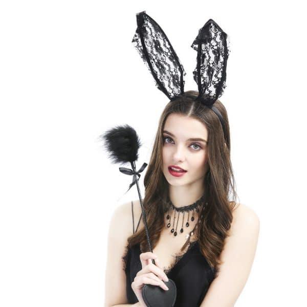 feather flirt stick lace rabbit ears headband