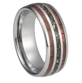 Tungsten wedding bands with blue opal