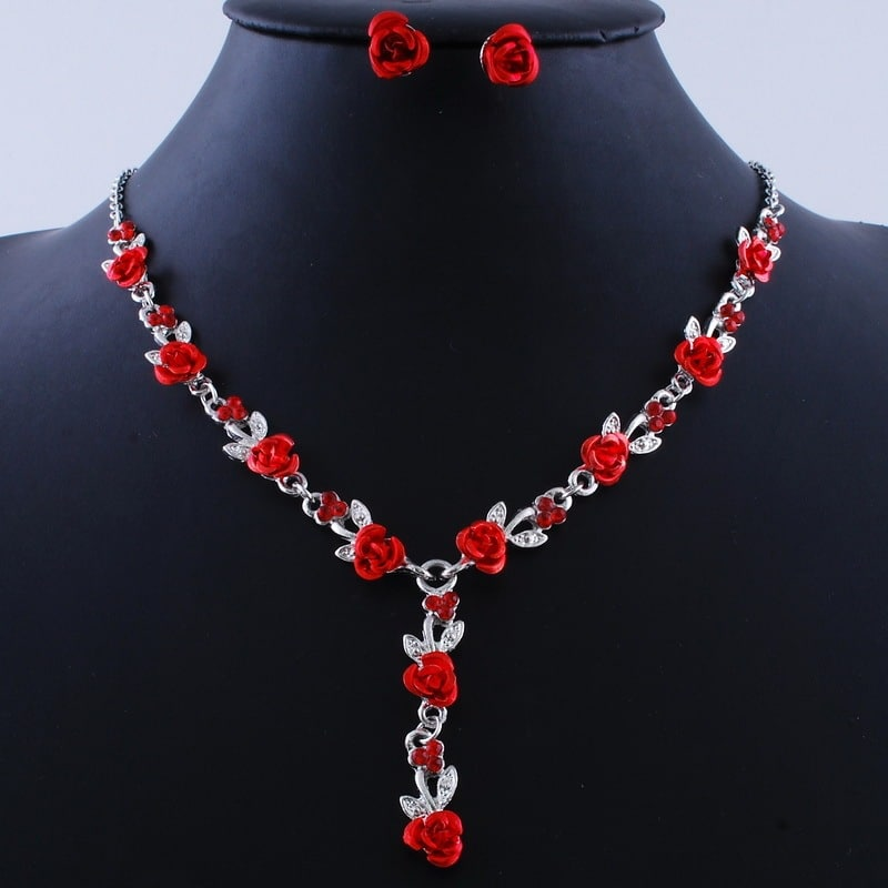 rose alloy necklace earing set