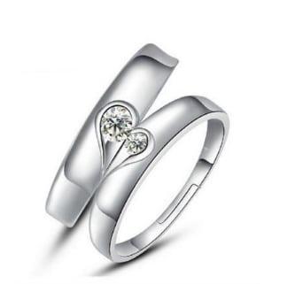 Silver heart diamond ring couple
