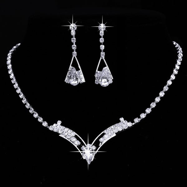 silver plated wedding jewelry 2 sets