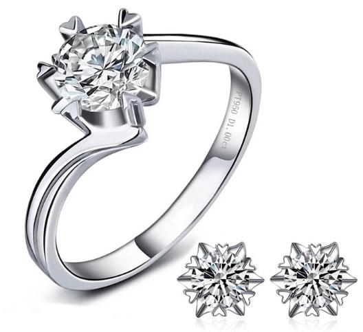 silver ring high-grade platinum snowflake