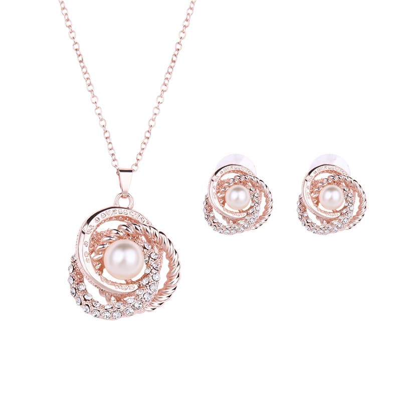 pink pearl necklace jewelry set
