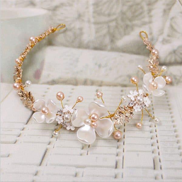 Golden hoop luxury wedding headdress