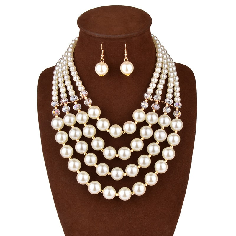 Europe necklace crystal pearl Long Necklace