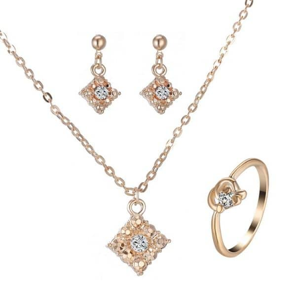 Diamond necklace earring ring
