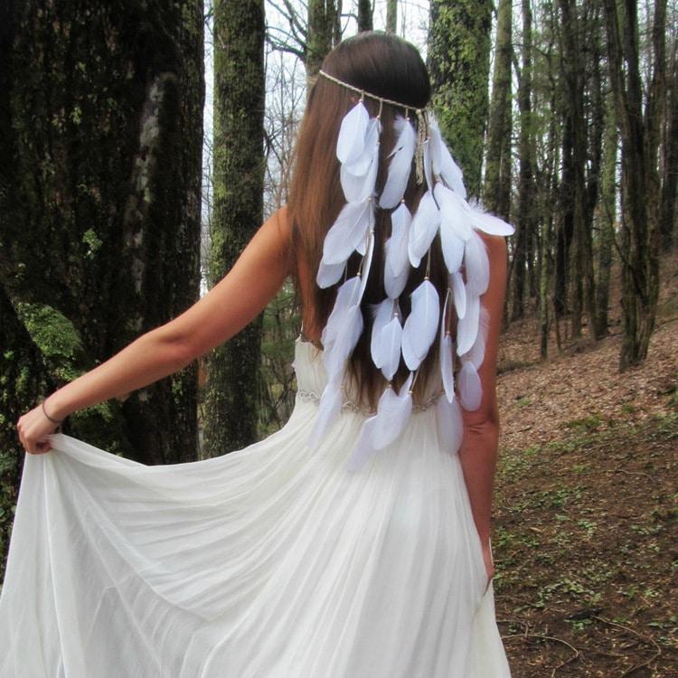 wedding bride's feather band hair belt