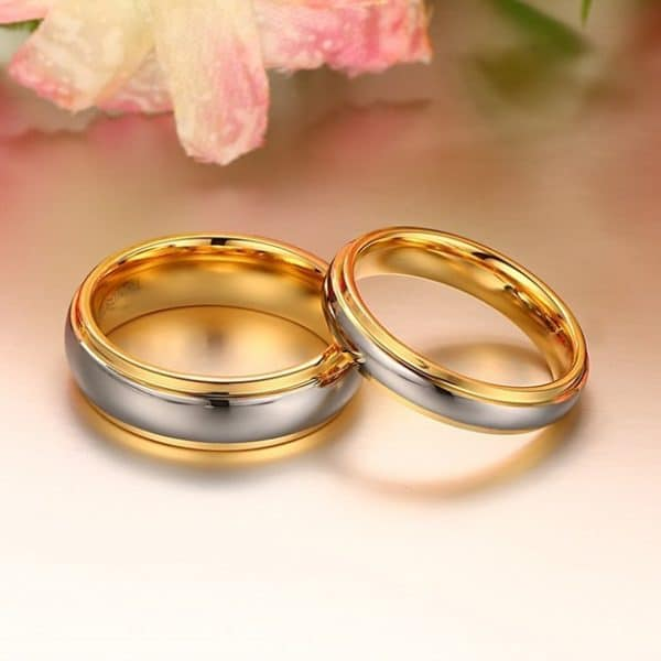 Tungsten steel couple gold ring
