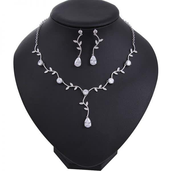 zircon water drop earrings necklace sets