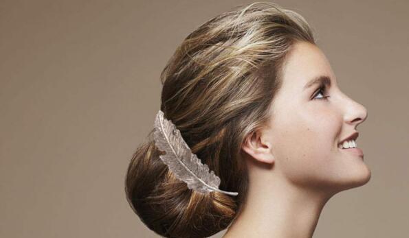 Han edition leaf feather hair card