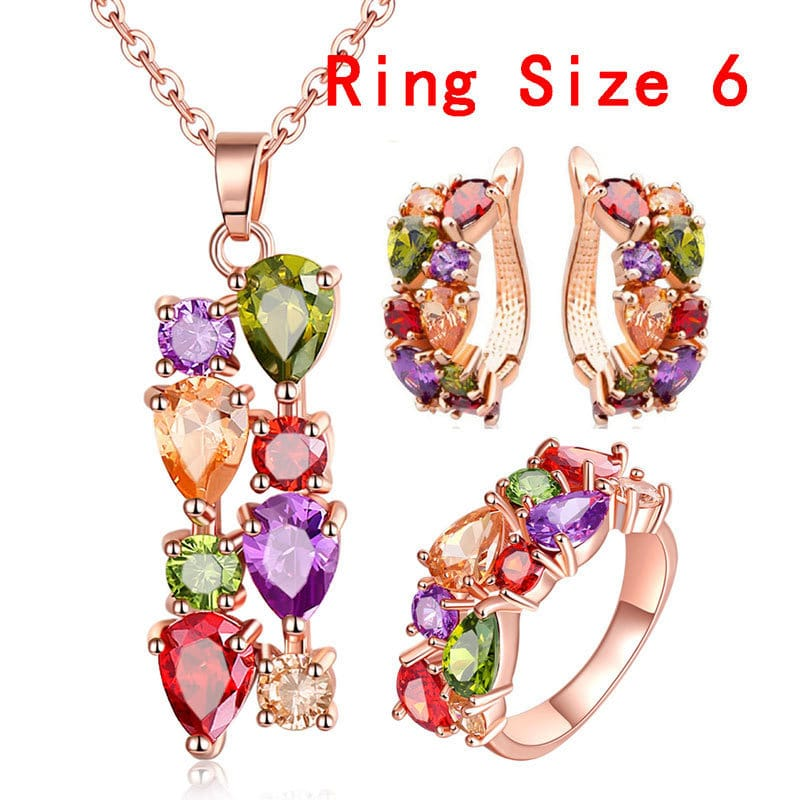 Hypoallergenic Necklace Earrings Ring Set