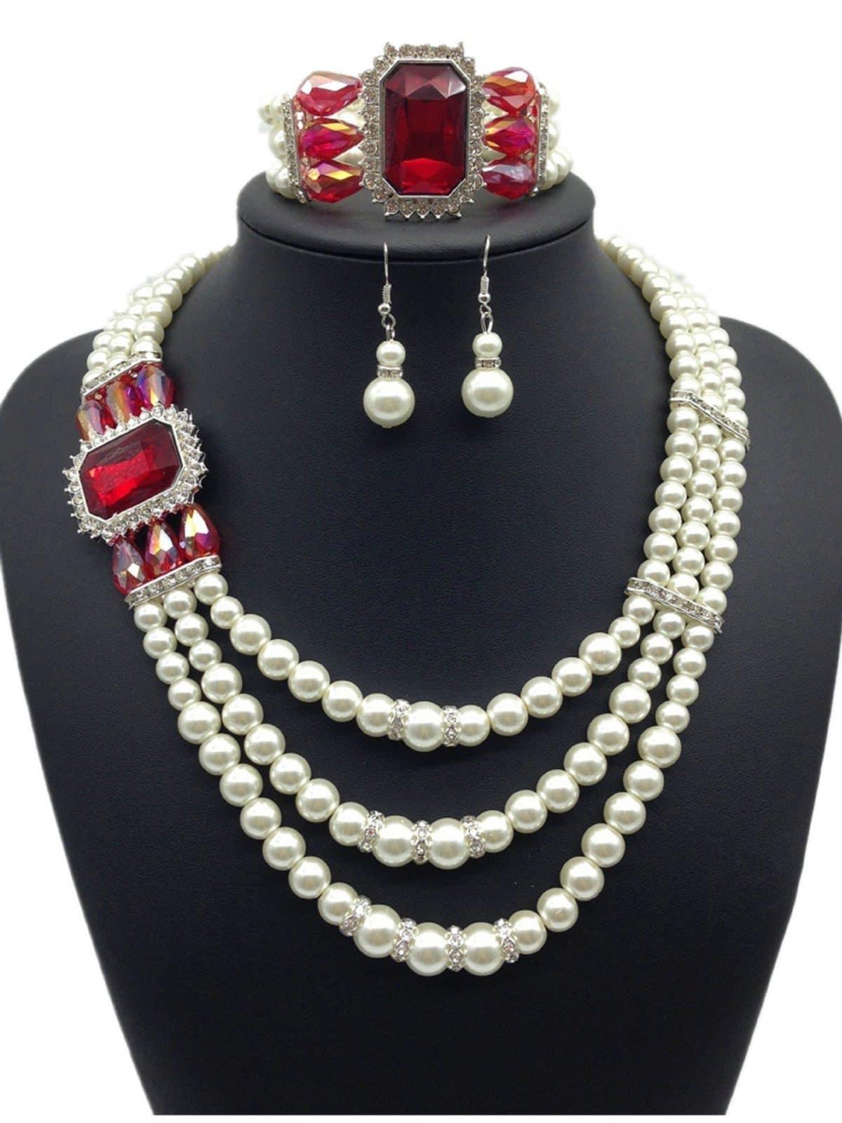 Diamond Gemstone Pearl Necklace Earrings Set