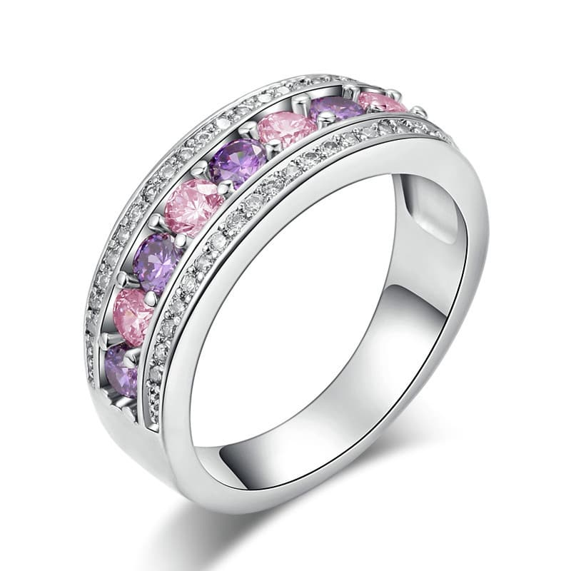 purple zircon plating white gold ring
