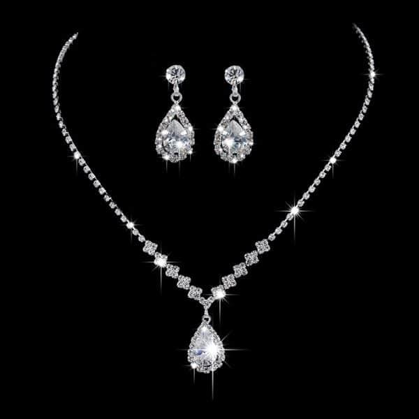 Brilliant Full Diamond Zircon Drop Necklace