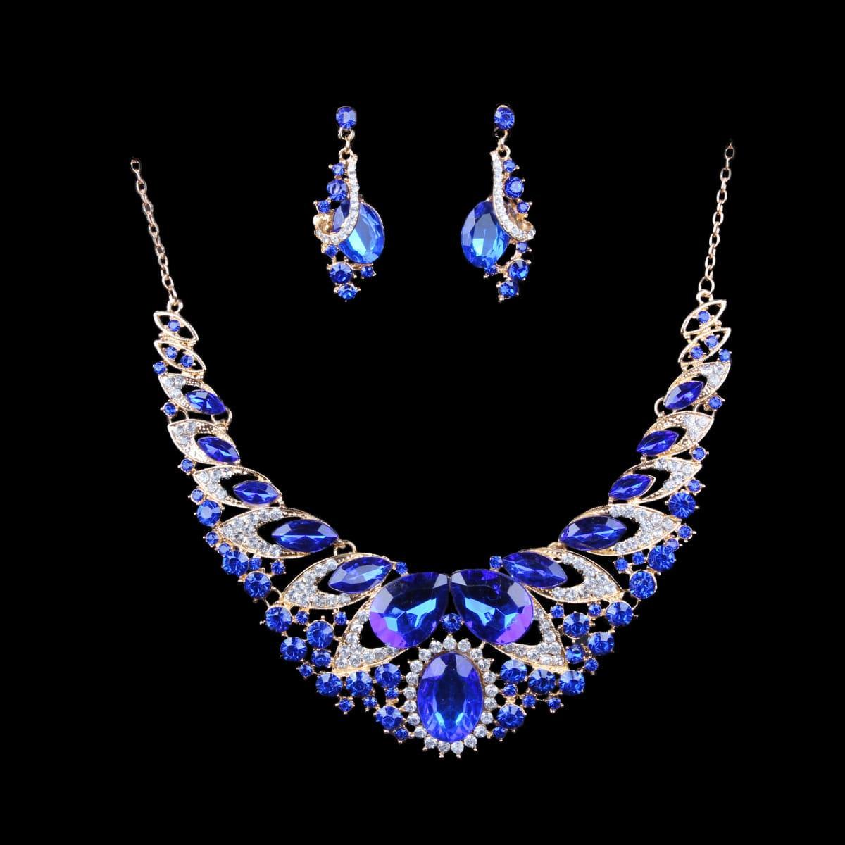 color exaggerated bride necklace set