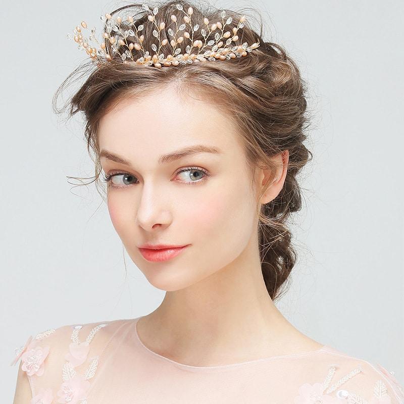 great crown Pearl Wedding Veil Bride