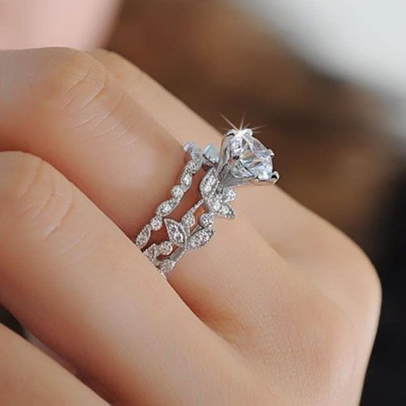 tree leaf engagement ring