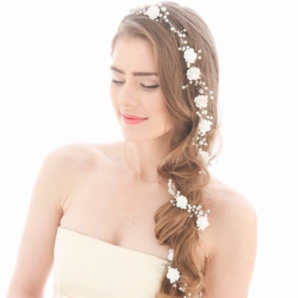 white flowers and long soft hair chain