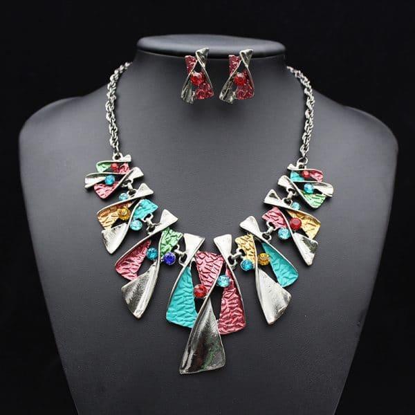 diamond necklace earrings set bride jewelry