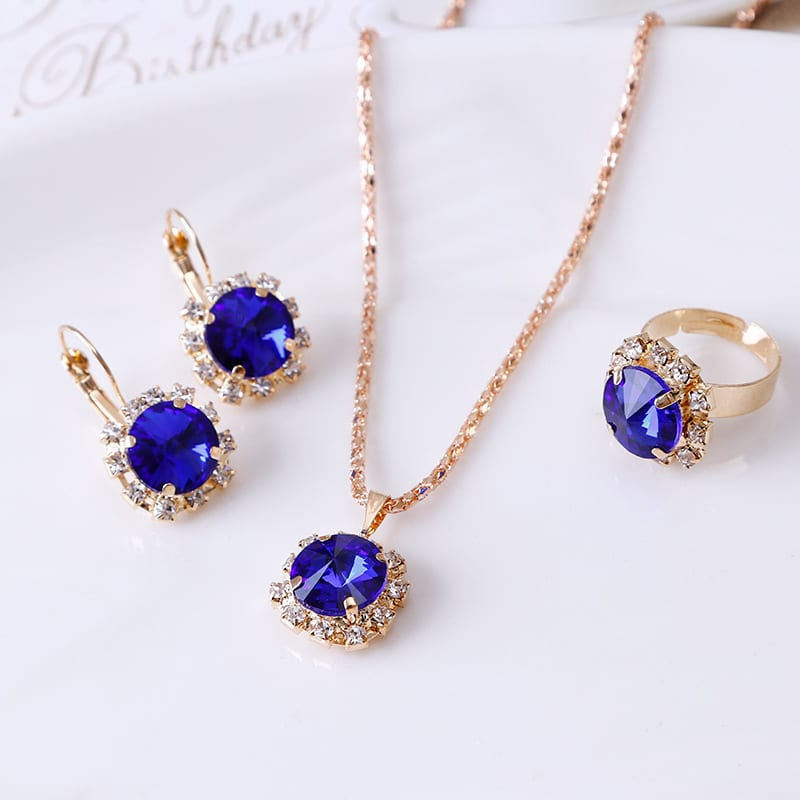 round crystal necklace earrings ring set