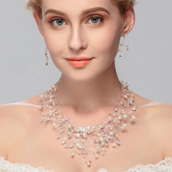 Handmade Pearl Rhinestone Earrings Necklace