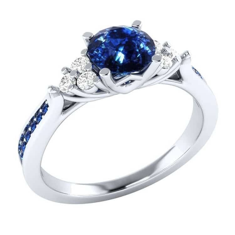 New inlaid sapphire zircon ring