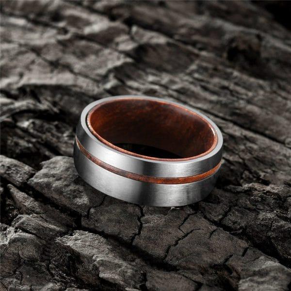 Silver Brown Wedding Ring