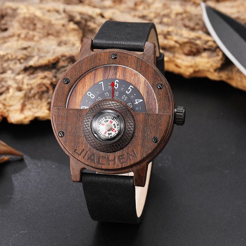 Multifunctional Compass Wood Watch