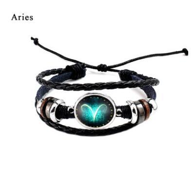 Twelve constellation glass couple bracelet